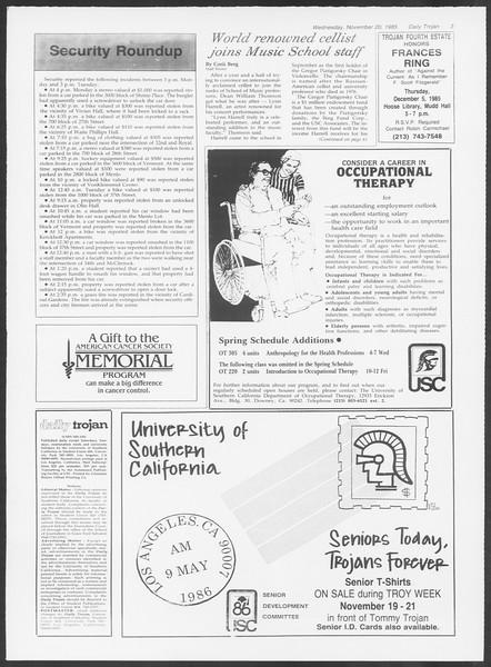Daily Trojan, Vol. 100, No. 54, November 20, 1985