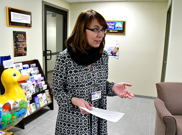 2/19/2019 Mike Orazzi   Staff Nancy Micloskey, United Way Community Impact Assistant Coordinator talks about a program by the United Way of West Central Connecticut, in partnership with HRA of New Britain, for a free tax preparation site for individuals residing in Bristol, Burlington, Plainville, Plymouth and Terryville throughout the tax season in Bristol Tuesday.