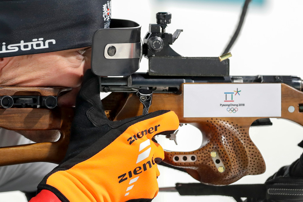 . Julian Eberhard, of Austria, shoots from the prone position during the men\'s 10-kilometer biathlon sprint at the 2018 Winter Olympics in Pyeongchang, South Korea, Sunday, Feb. 11, 2018. (AP Photo/Andrew Medichini)