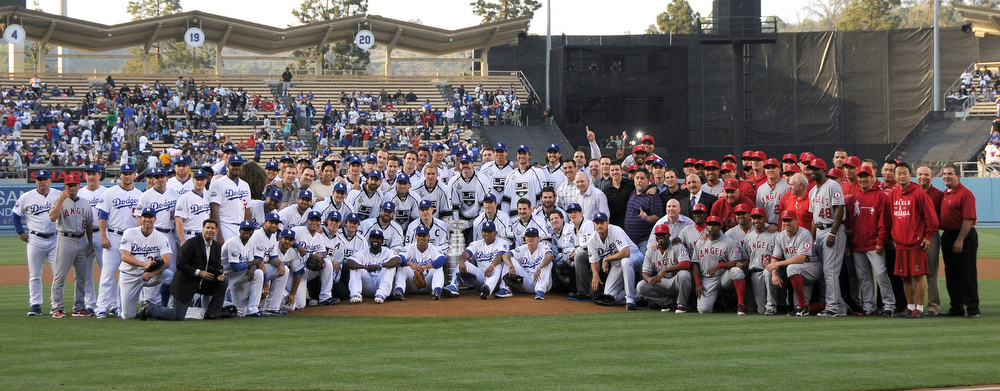 . Before the game the Los Angeles Kings brought the Stanley Cup to the field to show it off for the crowd and pose for photos with members of the Dodgers and Angels.  The Dodgers hosted the Los Angeles Angels of Anaheim in a game played at Dodger Stadium. Los Angeles, CA 6/13/2012(John McCoy/Photographer)