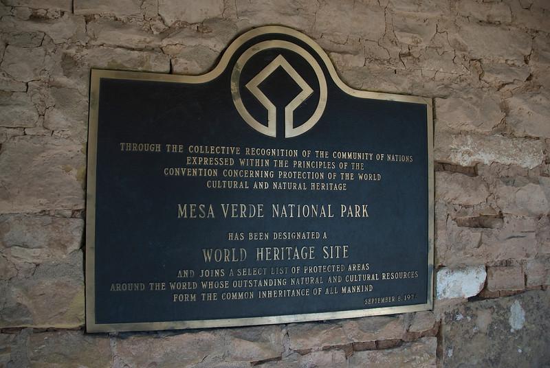 UNESCO sign at Mesa Verde National Park, Colorado