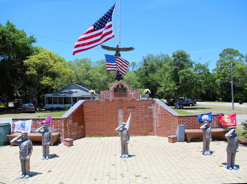 The Carrabelle War Memorial (dedicated by Nixon in 1970).