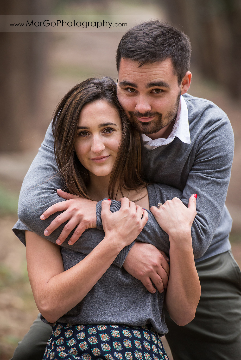 eengagement session at Lover's Lane at the Presidio in San Francisco - portrait of hugging couple