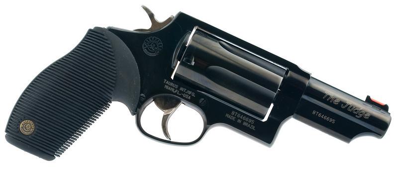 "Taurus Judge 45 Colt/410 shotshell - 2.5"" chamber with 3"" barrel."
