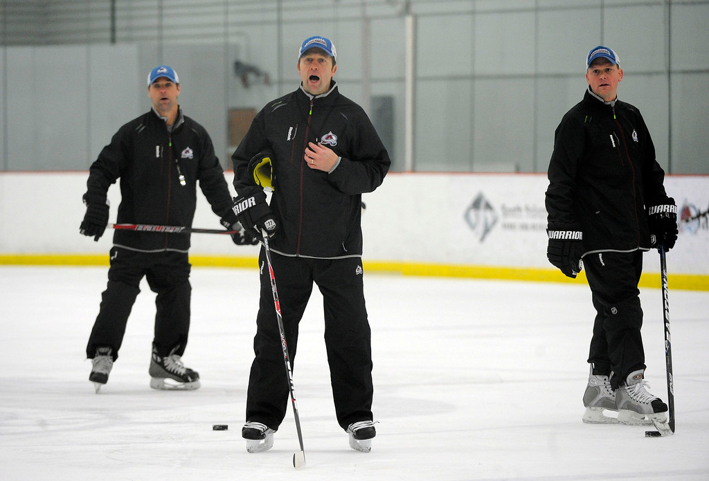 . Colorado Avalanche head coach Joe Sacco yells out instructions during practice as the Avalanche return to the ice Sunday, January 13, 2013 at Family Sports Center. John Leyba, The Denver Post