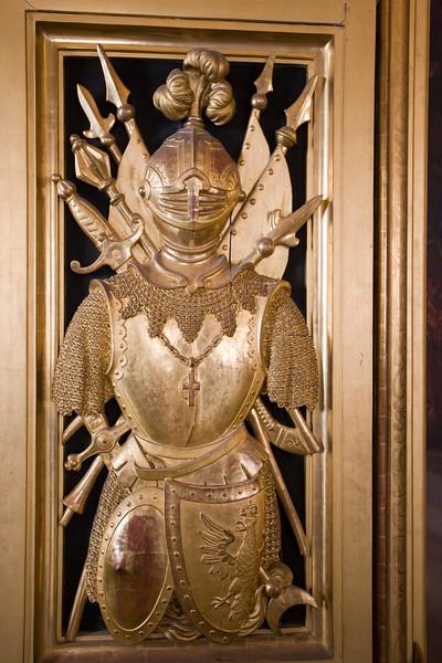 Golden armor carving on a door, Sobieski room, Vatican Museums