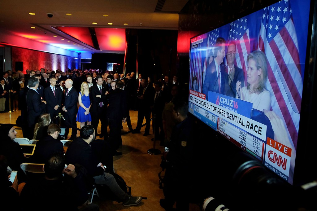 . The campaign staff  of US Republican presidential candidate Donald Trump listens in New York on May 3, 2016 as Ted Cruz announces the end of his campaign. Ted Cruz suspended his White House campaign on Tuesday after suffering a crushing defeat in Indiana\'s primary, leaving the road wide open for Donald Trump to seize the Republican nomination.  (JEWEL SAMAD/AFP/Getty Images)