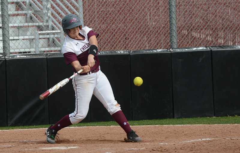 Chico State's Angel Lopez hits the ball, Friday, March 9, 2018, in Chico, California. (Carin Dorghalli -- Enterprise-Record)