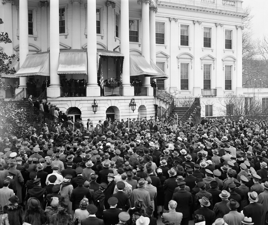 . President Franklin D. Roosevelt speaks to a crowd gathered at the south portico of the White House during inaugural ceremonies in Washington, D.C., Jan. 20, 1945. (AP Photo/Herbert K. White)