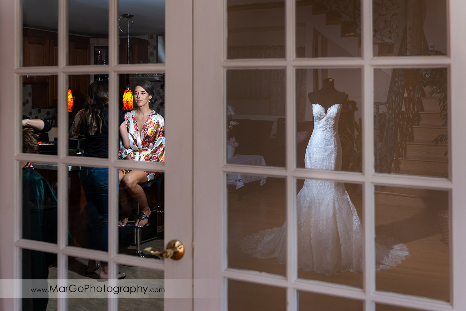 bridal makeup with wedding dress reflection in Walnut Creek