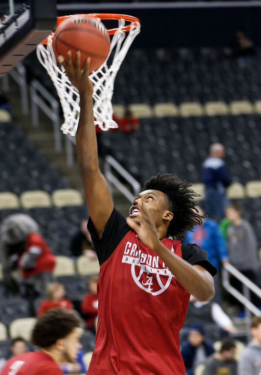 . Alabama\'s Collin Sexton shoots during practice for an NCAA men\'s college basketball tournament first-round game in Pittsburgh, Wednesday, March 14, 2018. (AP Photo/Keith Srakocic)