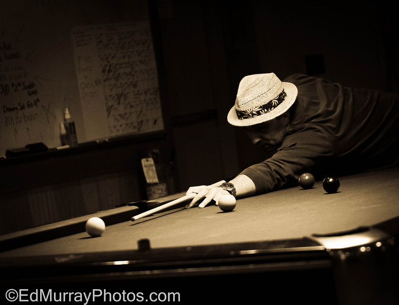 Wrong Side of the Lens: Thank you for all your comments on the shot of my family yesterday! This shot is actually of me. I'm on a 9-ball team and one of my teammates hijacked my camera during a match that I was playing. This is the result after a little pp.  2/5/2013