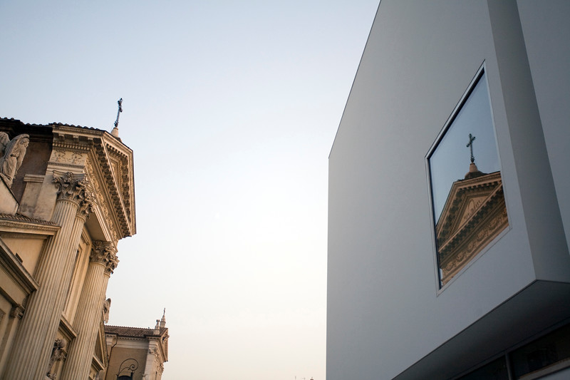 San Rocco church reflected on Ara Pacis museum, Rome
