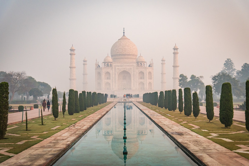 January 2019,Taj Mahal Reflections on a misty morning. UNESCO World Heritage Site, Agra, Uttar Pradesh, India, Asia.