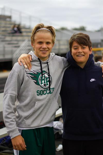 Holy Family Boys Varsity Soccer vs. Hutchinson, 9/26/19: Thomas Aragon-Menzel '20 (2) & Manager Zach Bornhoft '21