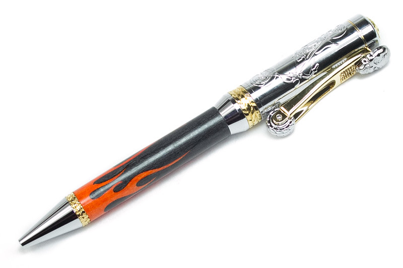 Motorcycle Gold and Chrome ballpoint shown with Flames Laser Inlay