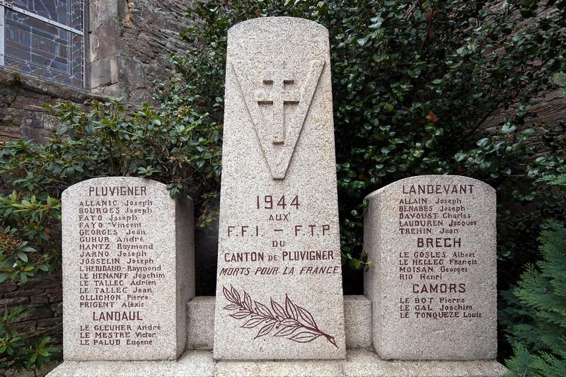 World War II Memorial, town of Pluvigner, departement of Morbihan, Brittany, France