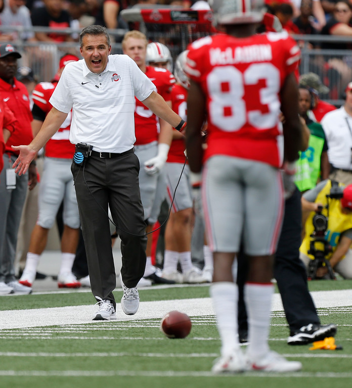 . Ohio State head coach Urban Meyer shouts to his team during the first half of an NCAA college football game against Army Saturday, Sept. 16, 2017, in Columbus, Ohio. (AP Photo/Jay LaPrete)