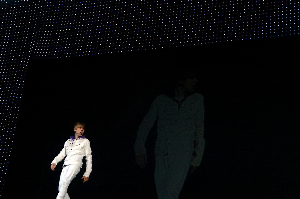 """. Justin Bieber performs Sunday, October 24, 2010, during his \""""My World\"""" tour at Citizen\'s Business Bank Arena in Ontario. Jennifer Cappuccio Maher/Inland Daily Bulletin"""