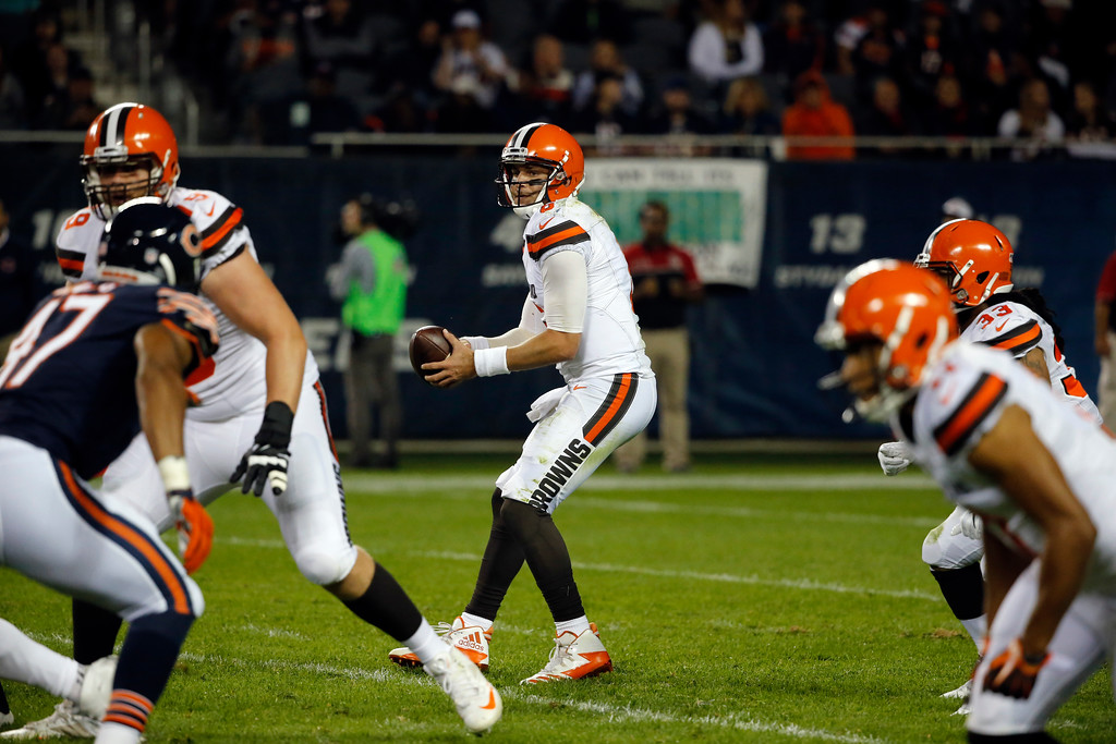 . Cleveland Browns quarterback Cody Kessler (6) during the first half of an NFL preseason football game against the Chicago Bears, Thursday, Aug. 31, 2017, in Chicago. (AP Photo/Charles Rex Arbogast)