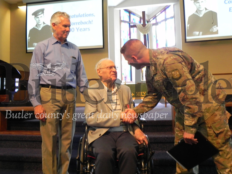 Cranberry Township resident Ed Borrebach, 100, was honored for his World War II naval service during the Sunday service at Dutilh United Methodist Church in Cranberry Township. Photo by Gabriella Canales.