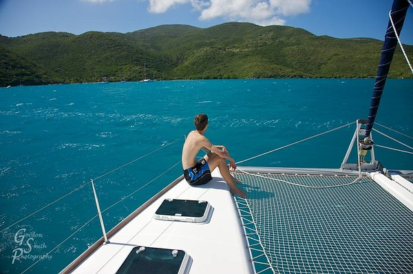 Gordon Smith on sailboat in Leverick Bay, Virgin Gorda, BVI