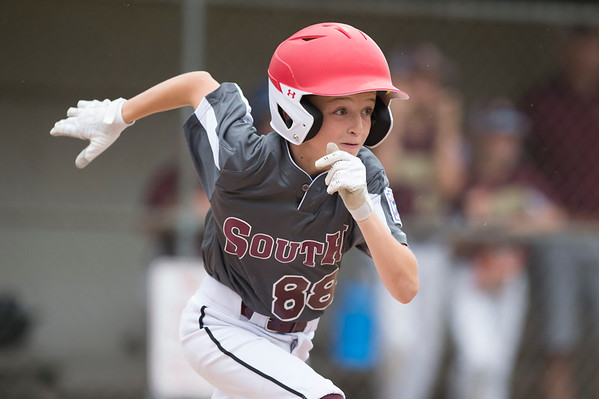 07/11/19 Wesley Bunnell | Staff Southington South Little League was defeated by Farmington on Thursday evening at Carl Verderame Memorial Field in Southington. Joel Munson (88).