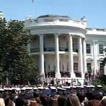"""United States Army Band """"Pershing's Own"""" Herald Trumpets play Hail to the Chief to announce the arrival of President George W. Bush and First Lady Laura Bush"""