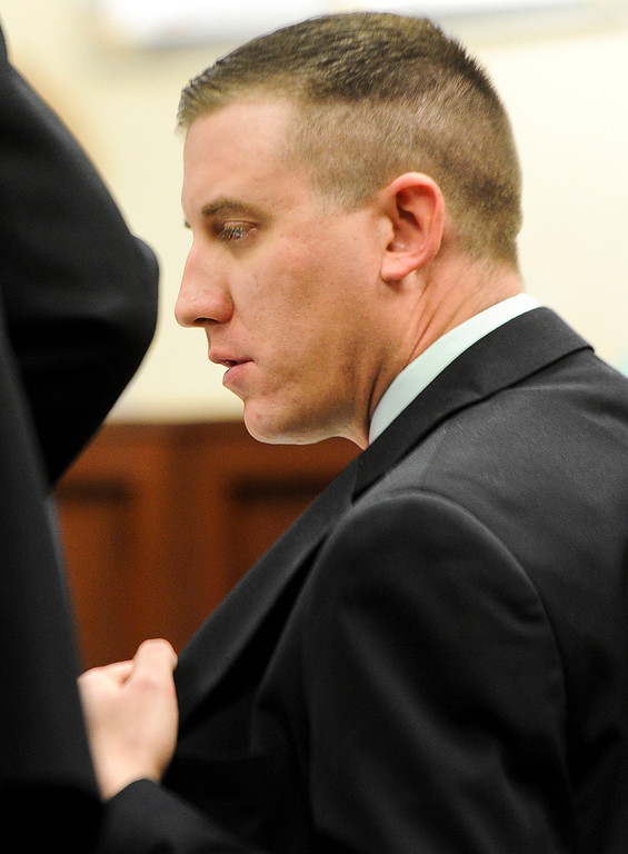 . Former San Bernardino County sheriff\'s deputy Nathan Gastineau, who is suspected of having sex with a teen Explorer, sits in court during closing arguments of his trial at San Bernardino Superior Court on Tuesday, Jan. 28, 2014. (Photo by Rachel Luna / San Bernardino Sun)