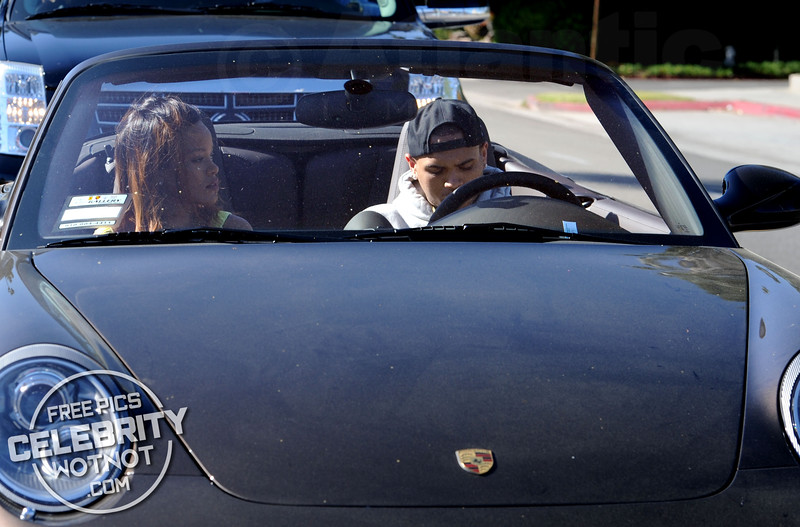 EXC: Chris Brown Takes Rihanna For A Spin In His Convertible Porsche!