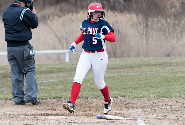 04/02/19 Wesley Bunnell | Staff St. Paul softball defeated Ansonia at home on Tuesday afternoon. Taylor Lorenzetti (5)