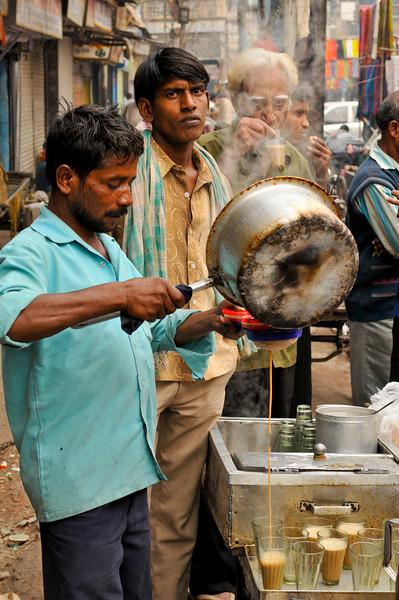 A chai walla in the Chandni Chowk in Delhi.