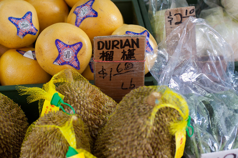 "Andrew Zimmern says that Durian, a famous asian fruit, ""tastes like smelly feet."""