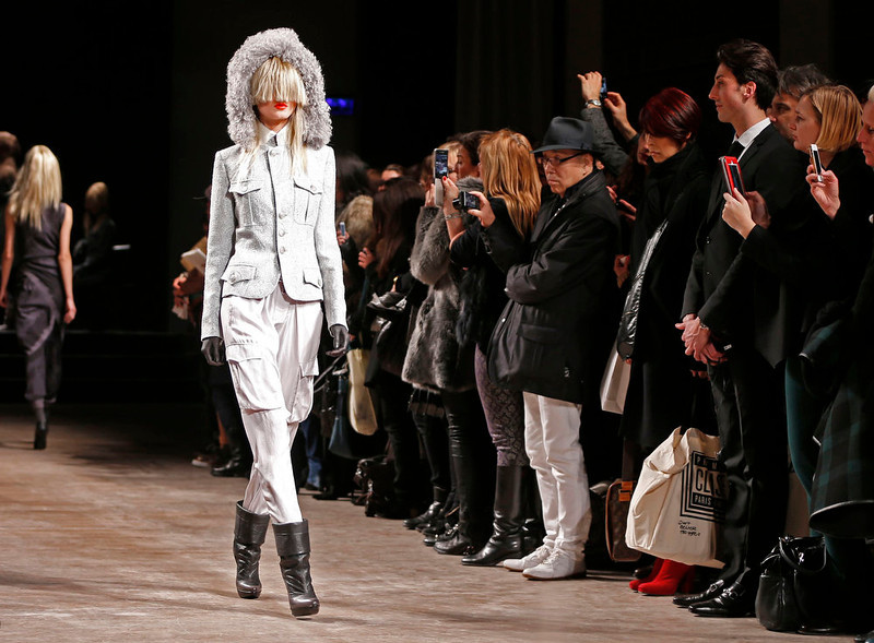 . A model presents a creation by AF Vandevorst designers as part of their Fall-Winter 2013/2014 women\'s ready-to-wear fashion show during Paris fashion week on March 1, 2013.  REUTERS/Charles Platiau