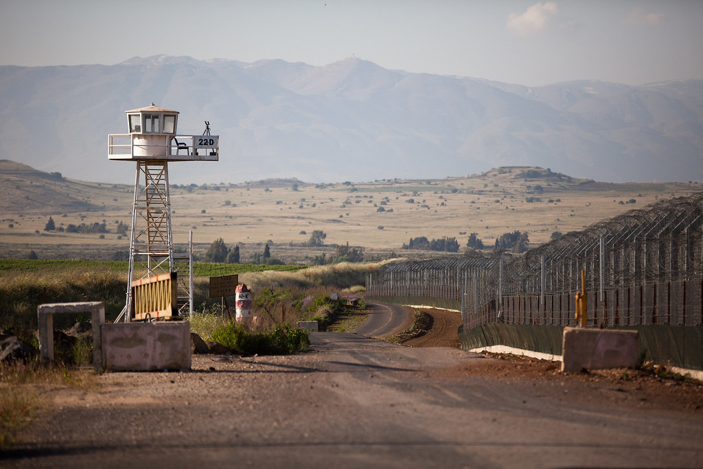 . GOLAN HEIGHTS - MAY 07:  An unmanned UN watchtower stands May 7, 2013 on the Israei side of the border between the Israeli-annexed Golan Heights and Syria. Four UN peacekeepers wer reportedly seized in demilitarised area between the Golan/Syria border  (Photo by Uriel Sinai/Getty Images)