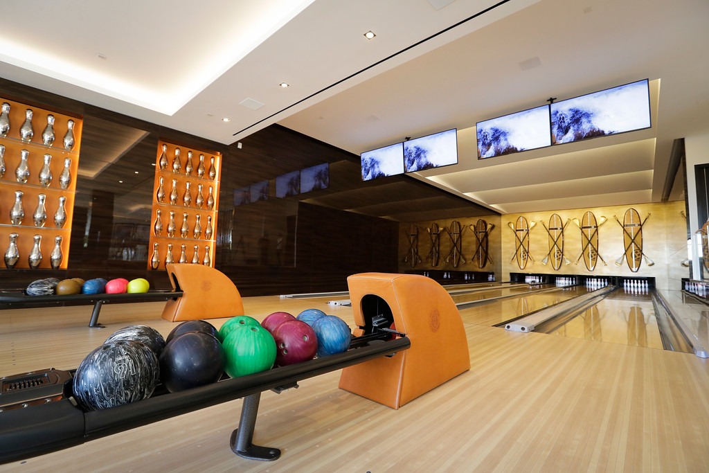 . This Thursday, Jan. 26, 2017, photo shows the four-lane bowling alley at a $250 million mansion in the Bel-Air area of Los Angeles. At $250 million, the new mansion in the exclusive Bel-Air neighborhood of Los Angeles is the most expensive home listed in the U.S. (AP Photo/Jae C. Hong)