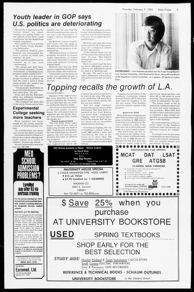 Daily Trojan, Vol. 66, No. 67, February 07, 1974