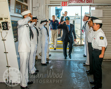 Buzz Aldrin  on the USS Hornet