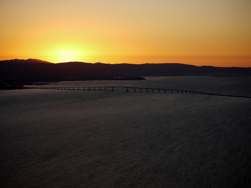 The San Mateo Bridge and San Francisco Bay at sunset. I love the water texture, it looks like sand.