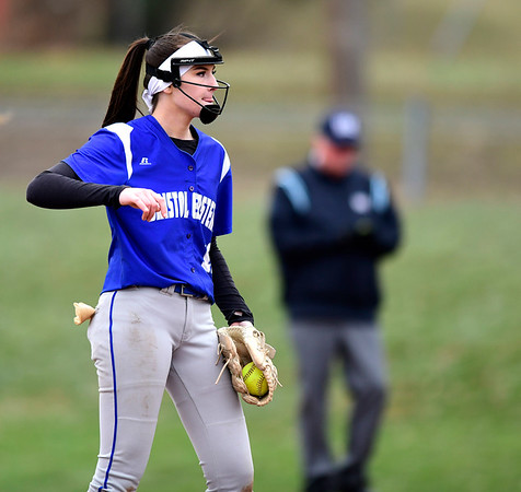 4/9/2019 Mike Orazzi | Staff Bristol Eastern's Erin Girard (13) during Tuesday's softball game with Southington in Bristol.