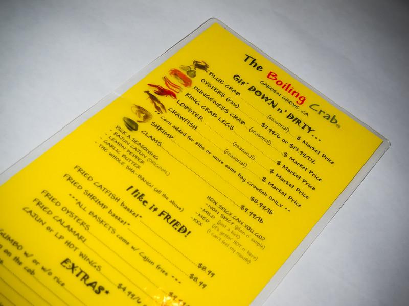 The menu looks the same