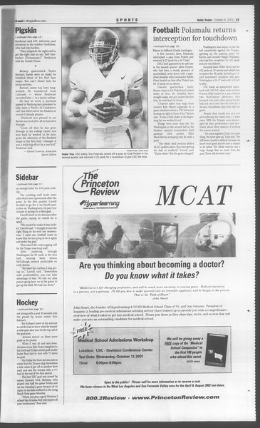 Daily Trojan, Vol. 144, No. 28, October 08, 2001