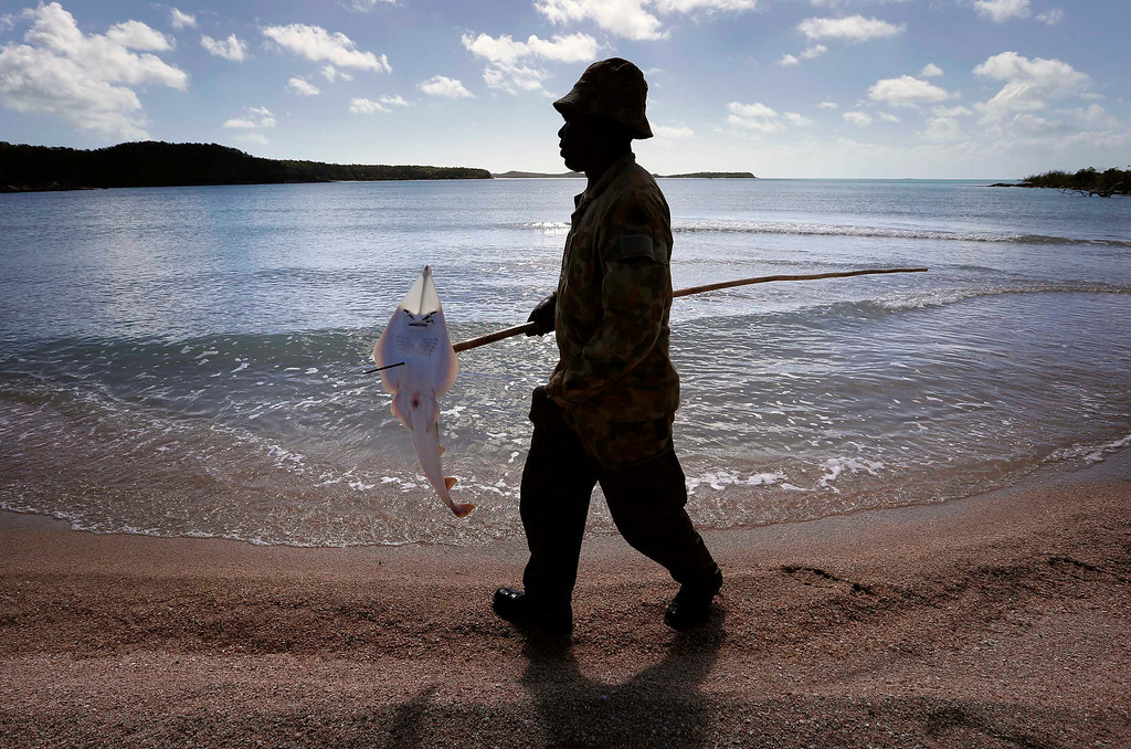 . Lance-corporal Vinnie Rami, an indigenous soldier from Australia\'s North West Mobile Force (NORFORCE) unit, carries a shovelnose guitarfish impaled on a spear after hunting on Astell Island, part of the English Company Islands, located inside Arnhem Land in the Northern Territory July 17, 2013. NORFORCE is a surveillance unit that employs ancient Aboriginal skills to help in the seemingly impossible task of patrolling the country\'s vast northwest coast. NORFORCE\'s area of operations is about 1.8 million square km (700,000 square miles), covering the Northern Territory and the north of Western Australia. Aboriginal reservists make up a large proportion of the 600-strong unit, and bring to bear their knowledge of the land and the food it can provide. Fish, shellfish, turtle eggs and even insects supplement rations during the patrol, which is on the lookout for illegal foreign fishing vessels and drug smugglers, as well as people smugglers from neighboring Indonesia. Picture taken July 17, 2013.   REUTERS/David Gray