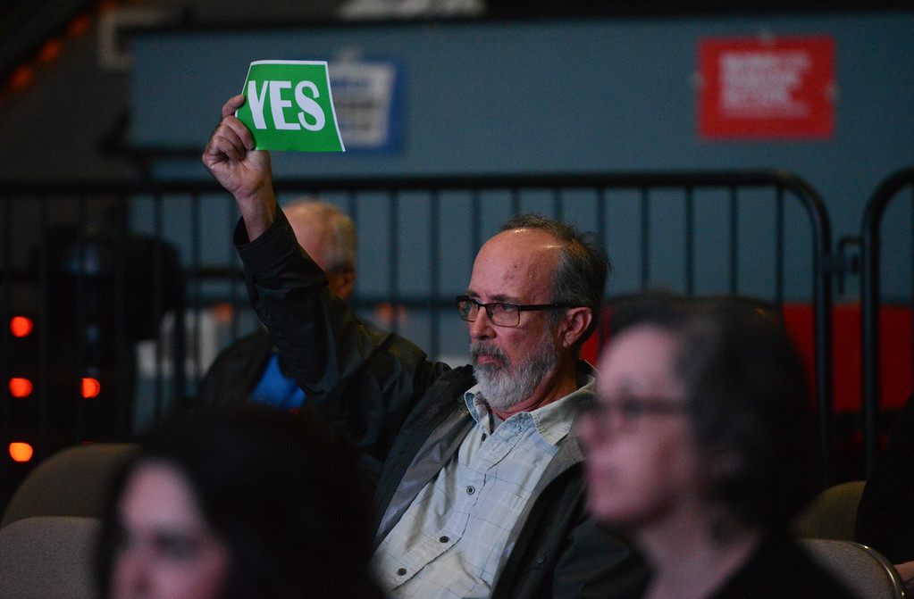 . The crowd participates during the Town Hall for our Lives meeting, April 7, 2018, in Chico, California. (Carin Dorghalli -- Enterprise-Record)
