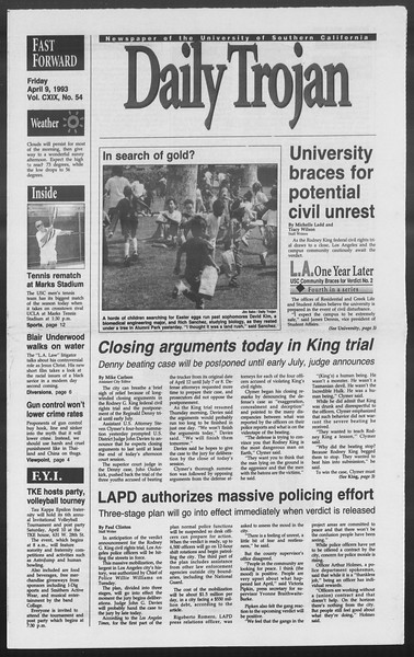 Daily Trojan, Vol. 119, No. 54, April 09, 1993