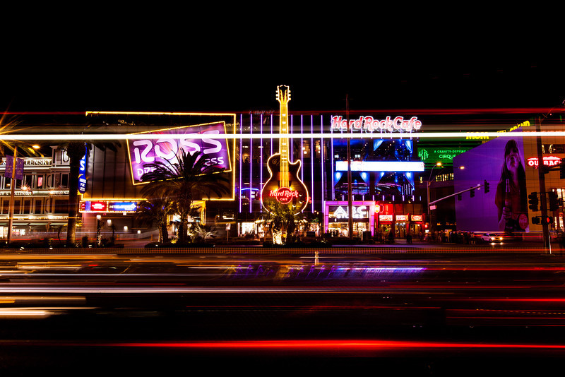 Hard Rock Cafe Las Vegas Night photo of the Hard Rock Cafe on the stip in Vegas. Taken with a long shutter as the lights from a bus streaked across.  See this photo at AlikGriffin.com
