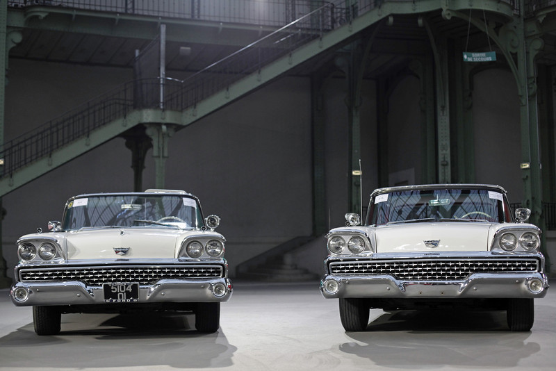 . A  pair of 1959 Ford Galaxy cars are displayed ahead of Bonham\'s sale of vintage and classic cars, at the Grand Palais in Paris, Wednesday, Feb. 5, 2014. The Grand Palais is staging an exhibition of vintage cars, to be followed by a sale of historic cars by Bonhams auction house on Thursday. (AP Photo/Thibault Camus)