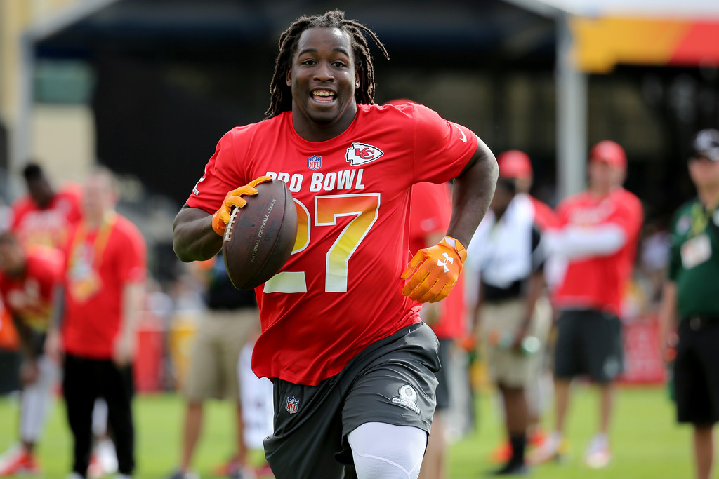 . AFC running back Kareem Hunt of the Kansas City Chiefs is seen during Pro Bowl NFL football practice, Saturday, Jan. 27, 2018, in Kissimmee, Fla. (AP Photo/Gregory Payan)