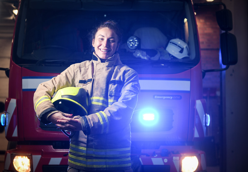 Port Talbot, 22nd November 2019 Pictured is firefighter, Stephanie Evans who is based in Port Talbot and will be working on Christmas Day.