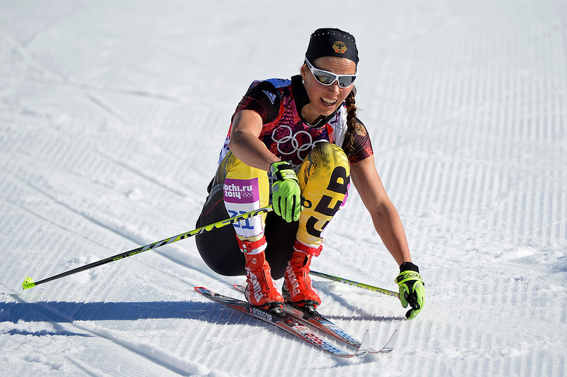 . Stefanie Boehler of Germany reacts after competing in the Women\'s 10 km Classic during day six of the Sochi 2014 Winter Olympics at Laura Cross-country Ski & Biathlon Center on February 13, 2014 in Sochi, Russia.  (Photo by Harry How/Getty Images)